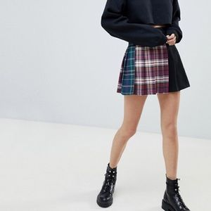 NWT ASOS bershka plaid pleated skirt C